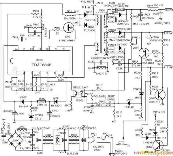 开关电源控制器tda16846无源功率因数校正电路的原理和应用